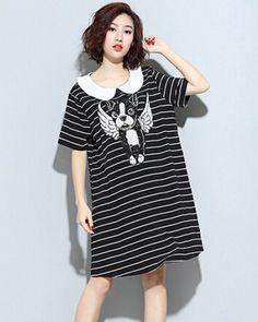 Angel dog t shirt dress for girls black and white stripe t shirts peter pan collar