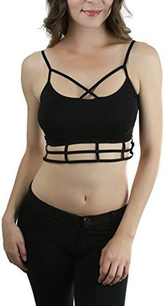 ToBeInStyle Women's Caged Bottom Bralette - Black * Click on the image for additional details.