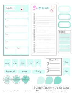 Free Printable Whimsical Bunny Planner To Do Lists from Vintage Glam Studio