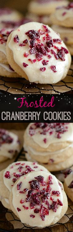 Frosted Cranberry Cookies - sweet soft cranberry shortbread cookies with vanilla cranberry icing! Frosted Cranberry Cookies - sweet soft cranberry shortbread cookies with vanilla cranberry icing! Cranberry Shortbread Cookies, Buttery Shortbread Cookies, Yummy Cookies, Vanilla Cookies, Sugar Cookies, Holiday Cookies, Holiday Baking, Christmas Desserts, Cranberry Recipes
