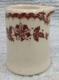 Vintage brown white porcelain individual restaurant ware creamer pitcher FREE SH #unbranded