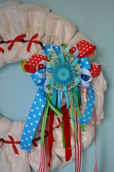 Little Bit Funky: 20 minute crafter-how to make a diaper wreath! This is a wonderful alternative to the diaper cake! ~t