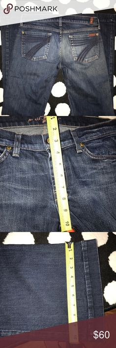 7 For all mankind wide leg dojo 29 Good used some frail on hem. Not bad, just specifying 7 for all mankind Dojo Pants Wide Leg