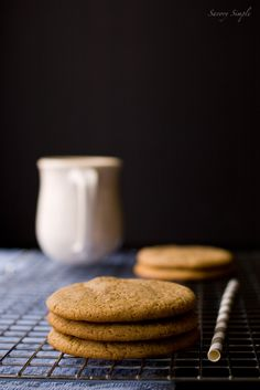Caramel Cappuccino Cookies ~ made with sweetened condensed milk, these cookies are thin, chewy and delicious! ~ Caramel Cappuccino Cookies ~ 1 whole tin condensed milk cookies ♥ ♥ ♥ Brownie Cookies, No Bake Cookies, Cookie Desserts, Cookie Bars, Just Desserts, Cookie Recipes, Dessert Recipes, Milk Cookies, Yummy Treats