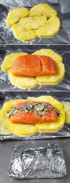 This honey lemon garlic butter salmon is a breeze to make and the method of cooking it all together in a foil pouch seals in moisture and keeps the sweet aroma intact. A no-fuss weeknight dinner wi… food Lemon Garlic Butter Salmon in Foil with Pineapple Fish Recipes, Seafood Recipes, Cooking Recipes, Healthy Recipes, Recipies, Cooking Corn, Cooking Salmon, Healthy Food, Sandwich Recipes