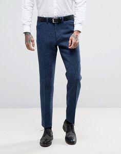 ASOS WEDDING Slim Suit Pants in Harris Tweed Check In 100% Wool - Blue