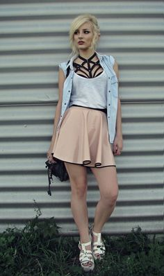 Emilyx Antidotex - Diy Pvc Skirt, Diy Harnesses Cage Bra, Levi's® Denim Shirt, White Chunky Platform Gladiator Sandals - PVC skirt