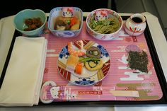EVA Air Hello Kitty Meal by Luke Lai on Flickr. Airplane Painting, Retro Toys, Toys Shop, Aesthetic Food, Cute Food, Japanese Food, Sanrio, Hello Kitty, Meals