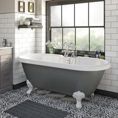 The Bath Co. Dulwich grey roll top bath with white ball and claw feet 1500 x 720 The Bath Co. Dulwich Grey Roll Top Bath With White Ball And Claw Feet 1500 X 720 ideas grey Beach Bathrooms, Bathroom Spa, Grey Bathrooms, Bathroom Interior, Modern Bathroom, Bathroom Ideas, Master Bathroom, Luxury Bathrooms, Bathroom Cabinets