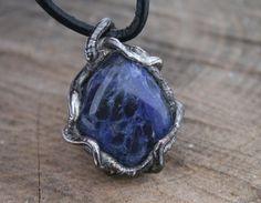 men necklace men pendant sodalite necklace by Blacksmithworkshop, #mennecklace, #menpendant, #navybluependant
