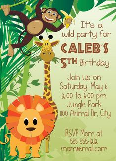 Birthday invitation card kartu undangan ulang tahun ukuran 15 x 10 jungle rumbleoriginal stopboris Images