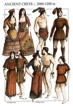 Minoan: Women wear exposed bodices, aprons, and their flared/ruffled skirts; Men wear wrapped skirts with tassel, perizoma, T-shaped tunics with decorative bands.