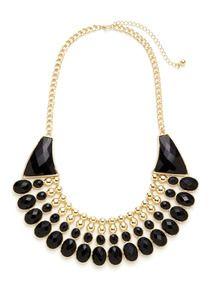 Gold & Black Resin Bib Necklace by Sparkling Sage at Gilt.