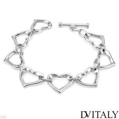 DV ITALY Stylish Heart Bracelet Beautifully Crafted in 925 Sterling silver. Total item weight 35.4g Length 8in DV ITALY. $99.00