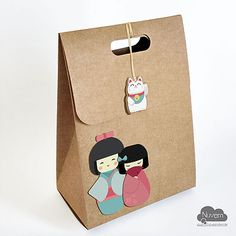 Caixinha para lembrancinhas e doces G - Festa Infantil Kokeshi -  Boneca Japonesa