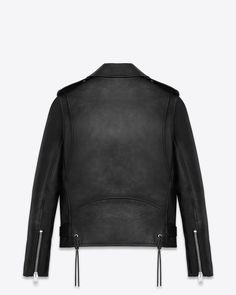 saintlaurent, Signature Motorcycle Jacket in Black Washed Leather