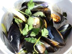 Coconut Mussels with ginger, lemongrass, chili, and cilantro over rice noodles.