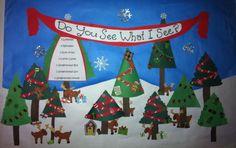 Christmas trees and reindeer in Winter bulletin board