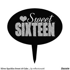Silver Sparkles Sweet 16 Cake Pick