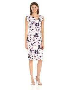 1091ab66 Black Halo Women's Floral Printed Jackie O Dress, Hibiscus Coast, ...