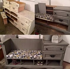 DIY Dresser repurposed into sitting bench