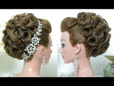 Bridal hairstyle. Wedding updo for long hair tutorial. - YouTube
