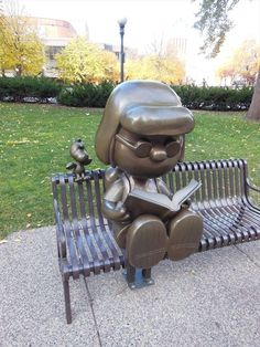 "I need to take my Marcie to see this one day.Statue of the ""Peanuts"" Character Marcie Reading, Rice Park, St. Peanuts Cartoon, Peanuts Snoopy, Peanuts By Schulz, Peanuts Characters, Charlie Brown And Snoopy, Roadside Attractions, Public Art, Woodstock, Minnesota"