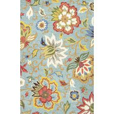 Hacienda Light Turquoise Floral Area Rug