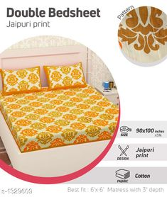 Bedsheets Comfy Pure Cotton Double Bedsheet Fabric: Bedsheet - Cotton   Pillow Covers - Cotton  Dimension: ( L X W ) - Bedsheet - 100 in  X 90 in Pillow Cover - 27 in x 17 in Description: It Has 1 Piece Of Double Bedsheet With 2 Pieces Of Pillow Covers Work: Printed Work Thread Count: 160 Country of Origin: India Sizes Available: Free Size   Catalog Rating: ★4 (402)  Catalog Name: Supreme Home Comfy Pure Cotton Double Bedsheets CatalogID_170538 C53-SC1101 Code: 883-1329609-447