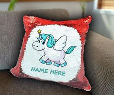 Cute Unicorn Personalized Sequin Cushion cover with your name unicorn sequin pillow personalised sequin cushion cover magic sequin cover by funkytshirtsfactory on Etsy Sequin Pillow, Unicorn Cushion, Cute Unicorn, Cushion Covers, Soft Fabrics, Cushions, Sequins, Magic