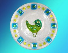 """bird design on clear fused glass decorative 10"""" plate ready to hang"""