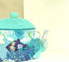 Handbag in Teal Quilted Purse Textile Teapot by BozenaWojtaszek, $70.00