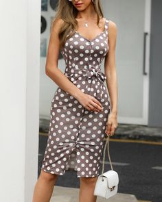 Dot Print Thin Strap Buttoned Casual Dress Shop- Women's Best Online Shopping - Offering Huge Discounts on Dresses, Lingerie , Jumpsuits , Swimwear, Tops and More. Casual Dresses For Women, Trendy Outfits, Clothes For Women, Dress Casual, Vestido Casual, Womens Fashion Online, Latest Fashion, Look Fashion, Fashion Images