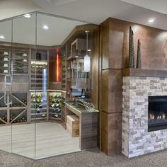 Transitional Wine Cellar by Maric Homes