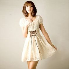 Graceful Delicate Lace Embellished Strings Short Sleeves Scoop Neck Lace Dress For Women
