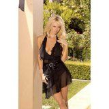 Layered Chiffon Halter Style Mini Dress with a Satin Bow and Rhinestone Clip. Sizes Small Medium Large X-Large in Black. (Apparel)By y2