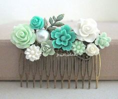 Teal Hair Comb Wedding Aqua Turquoise Seafoam Mint White Bridal Headpiece Floral Hair Slide Flower Collage Leaf Comb Vintage Romantic Shabby... $28