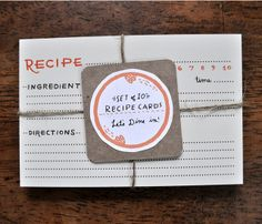 Recipe Cards #eat #stationery #paper