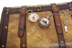 Silver train pocket watch and brass compass on a leather and wood traveling trunk Stock Photo - 4658029