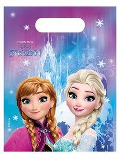 6pk Disney Frozen Snowflakes Plastic Birthday Party Loot Gift Bags