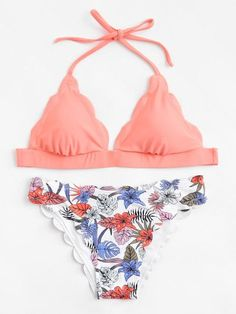 Tropical Print Scallop Trim Halter Bikini Set -SheIn(Sheinside) #beautiful#swimwear#woman#beauty