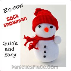 No-Sew Sock Snowman Craft from www.daniellesplace.com - Copyright 2009