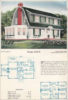 Basic Colonial House Plans New Dutch Colonial Revival Gambrel Roof with Shed Dormers Dormer Dutch Colonial Exterior, Dutch Colonial Homes, Colonial House Plans, House Floor Plans, Shed Dormer, Gambrel Roof, Vintage House Plans, Vintage Homes, Dutch House