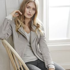 Leather Biker Jacket | The White Company US. There's nothing like an iconic leather biker jacket to transform your daytime look for the new season. Made from premium, super-soft New Zealand leather with shiny silver-look hardware, it's a true wardrobe hero, whatever your style. Pinning from the UK? -> http://www.thewhitecompany.com/Leather-Biker-Jacket/p/LBCJK?swatch=Silver