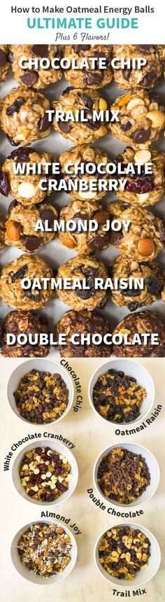 How to make Energy Balls ULTIMATE GUIDE. One recipe endless flavors! Easy recipe made with peanut butter oatmeal and chocolate chips or your flavor of choice. Simple gluten free and perfect for healthy snacks and breakfasts on the go! Recipe at wel Breakfast On The Go, Paleo Breakfast, Best Breakfast, Breakfast Recipes, Snack Recipes, Easy Recipes, Yummy Snacks, Free Recipes, Healthy School Snacks