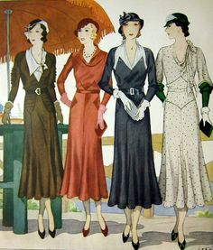 "This is a vintage 1930s two page (two sheets of paper) ladies fashion illustration with French designs by Jean--""Watch Your Sleeves and Collars...And Chic Will Take Care of Yourself"""