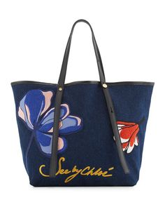 SEE BY CHLOÉ Andy Floral Denim Tote Bag, Flowers. #seebychloé #bags #leather #hand bags #denim #tote #