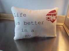 RV pillow handmade motorhome ornament by SweetMeadowDesigns