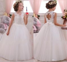 2017 Cheap Cute Toddler Flower Girl Dresses Weddings Long Floor Length Crew Backless Pricness Gowns Lace First Communion Dresses With Bow Little Girl Dress Shoes Little Girls Dress Shoes From Faithfully, $71.36| Dhgate.Com