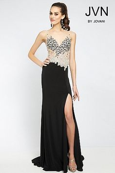 7e9b788d63254 Black Form Fitting Dress JVN20246 Split Prom Dresses, Prom Dresses Jovani,  Black Prom Dresses